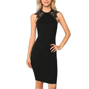 Black Bodycon Sleeveless Dress with Contrast Lace