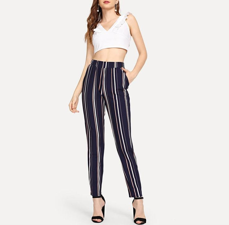 964135b510d9 Blue Pinstripe Cigarette Pants with Elastic Waist and Pockets ...