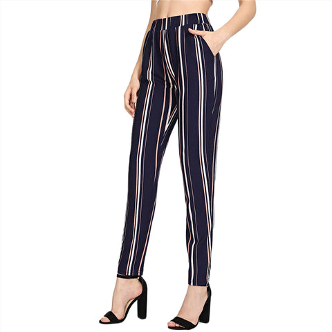 Blue Pinstripe Cigarette Pants with Elastic Waist and Pockets