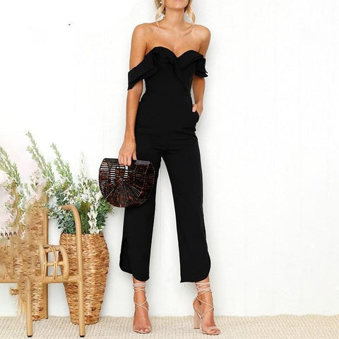 Off-Shoulder Tiered Ruffle Jumpsuit - Black