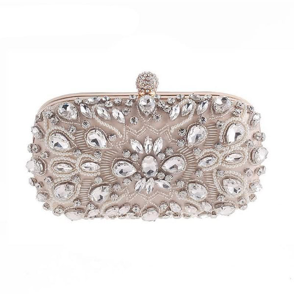 Lovely Evening Clutch Bag with Beading, Sequins and Rhinestones - Apricot - Rhinestone Closure