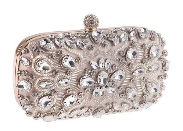 Lovely Evening Clutch Bag with Beading, Sequins and Rhinestones - Apricot - Rhinestone Closure - Side