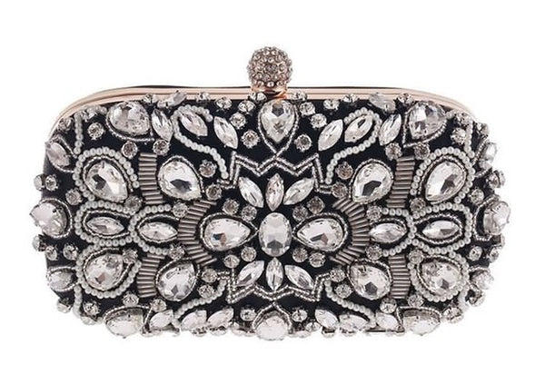 Lovely Evening Clutch Bag with Beading, Sequins and Rhinestones - Black - Phinestone Closure