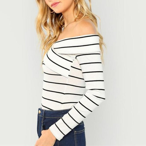 Casual Sexy Off-The-Shoulder White Long Sleeve Slim Fit Top with Stripes - Side