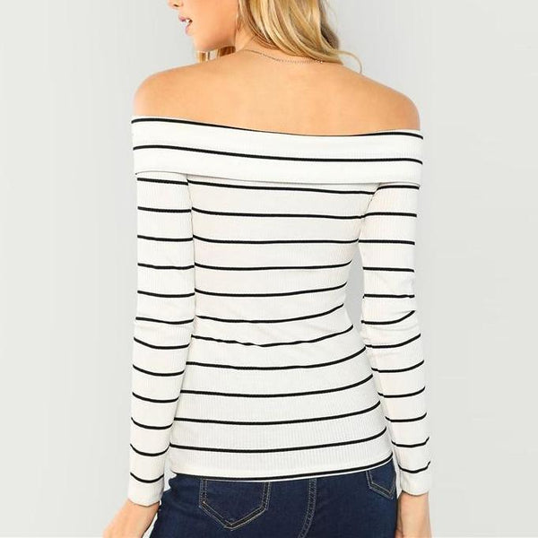 Casual Sexy Off-The-Shoulder White Long Sleeve Slim Fit Top with Stripes- Back