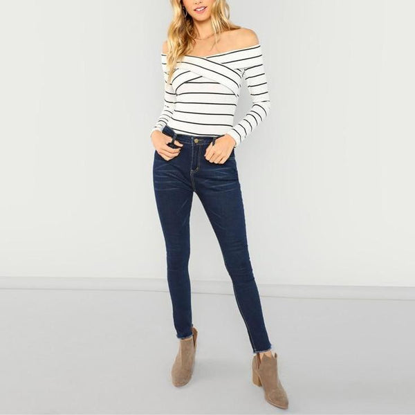 Casual Sexy Off-The-Shoulder White Long Sleeve Slim Fit Top with Stripes - Full length
