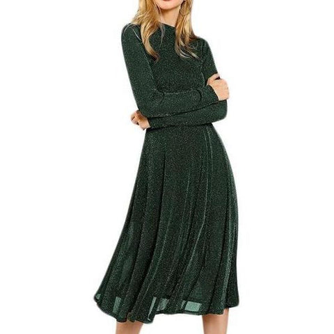 Elegant Long Sleeve Dress with Stand Collar - Green Glitter