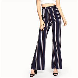High Waist Flare Leg Pants  - Navy, Vertical Stripes