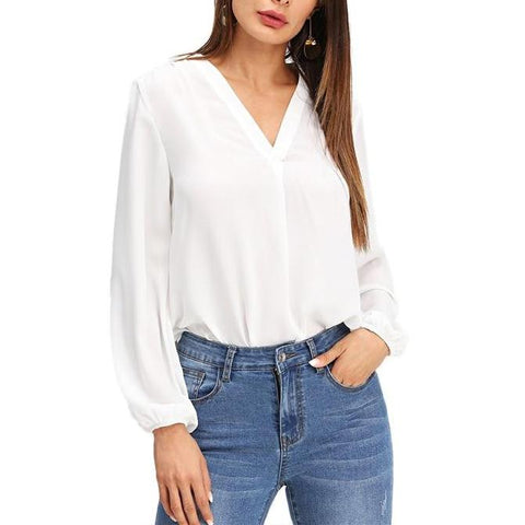 Elegant White V-Neck Blouse with Long Sleeves