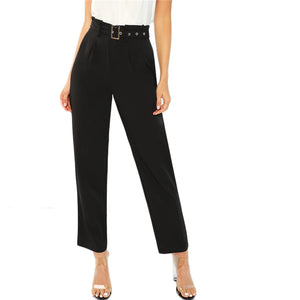 Pleated Tailored Trousers with Belt and Buckle - Black