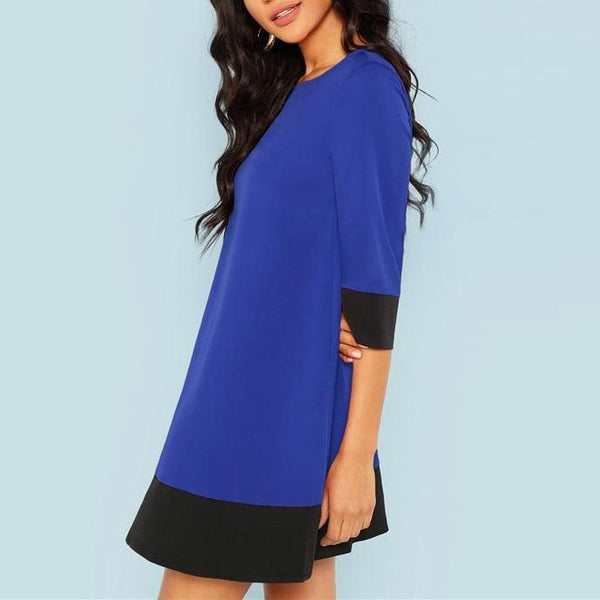 Tunic Dress with 3/4 Sleeves - Blue with Black Trim - Side view