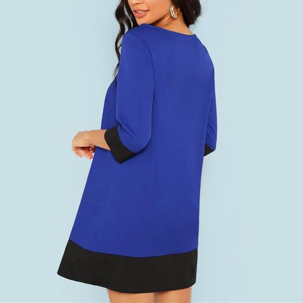 Tunic Dress with 3/4 Sleeves - Blue with Black Trim - back