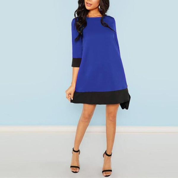 Tunic Dress with 3/4 Sleeves - Blue with Black Trim - full length