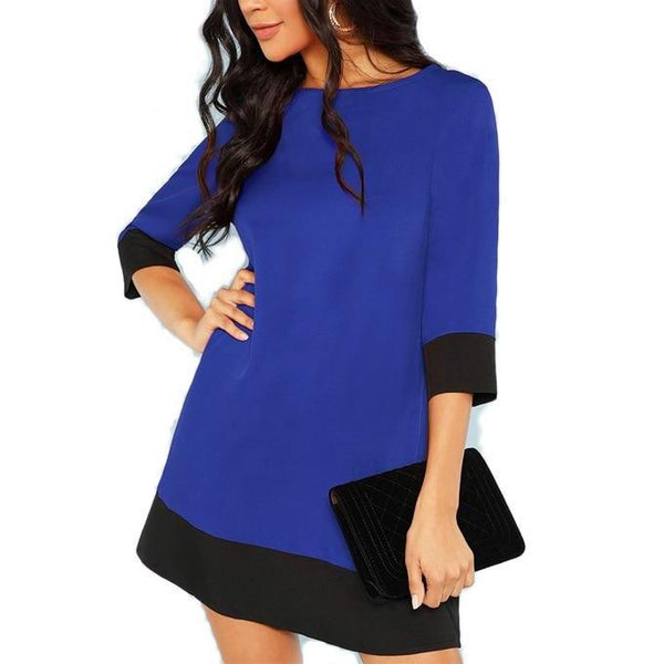 Tunic Dress with 3/4 Sleeves - Blue with Black Trim - Front
