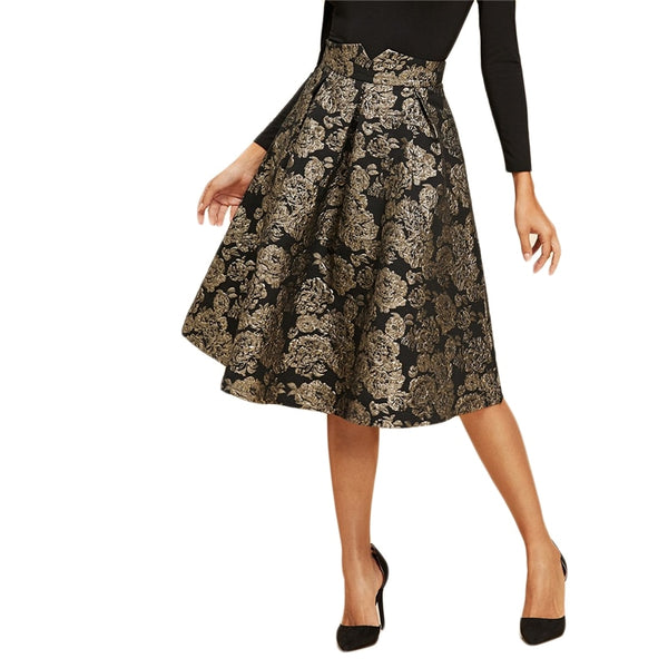 Vintage Mid Waist Flare Knee-Length Skirt - Black with Gold Flower Print