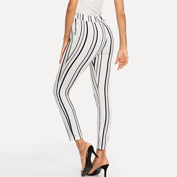 Sexy Belted Skinny Ankle- Length Pants in White with Multicolour Stripes - Back