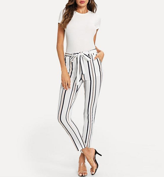 Sexy Belted Skinny Ankle- Length Pants in White with Multicolour Stripes - Full Length
