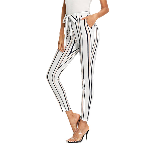 Sexy Belted Skinny Ankle- Length Pants in White with Multicolour Stripes