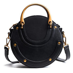 Gorgeous High Quality Shoulder Bag with Gold Metal Handles - Black