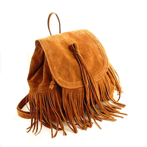 Small Ladies Backpack in Suede with Tassels - Multiple Colours