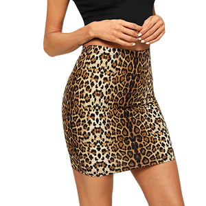 Leopard Print Pencil Mid Waist Mini Skirt