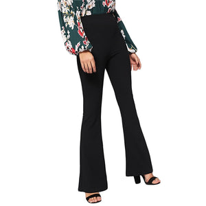 Elegant Black High Waist Flare Leg Pants