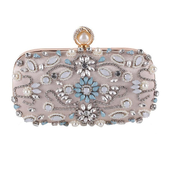 Lovely Evening Clutch Bag with Beading, Sequins and Rhinestones - Apricot - Pearl Closure