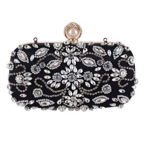 Lovely Evening Clutch Bag with Beading, Sequins and Rhinestones - Black - Pearl Closure