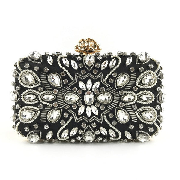 Lovely Evening Clutch Bag with Beading, Sequins and Rhinestones - Black - Crown Closure