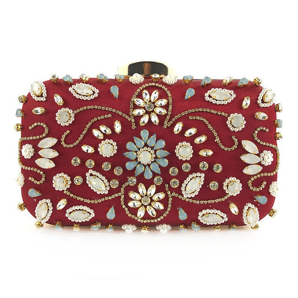 Lovely Evening Clutch Bag with Beading, Sequins and Rhinestones - Red