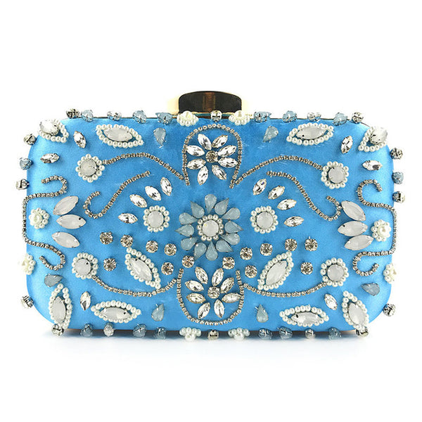 Lovely Evening Clutch Bag with Beading, Sequins and Rhinestones - Blue