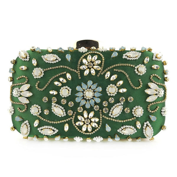 Lovely Evening Clutch Bag with Beading, Sequins and Rhinestones - Green