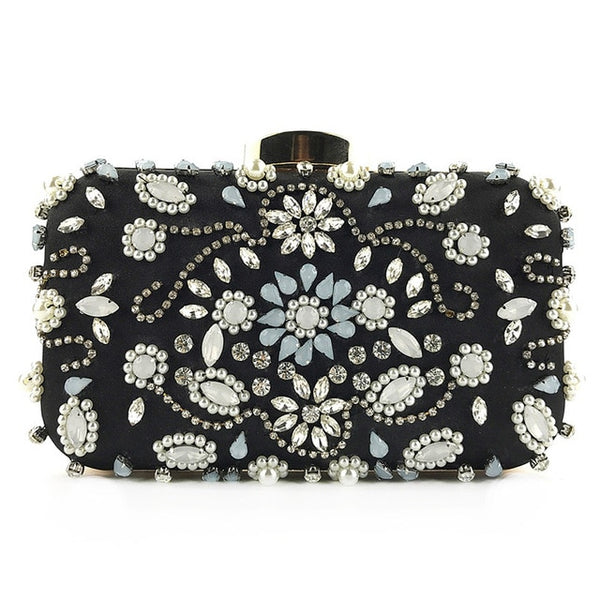 Lovely Evening Clutch Bag with Beading, Sequins and Rhinestones - Black