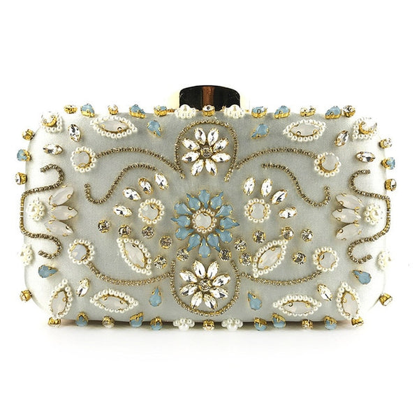 Lovely Evening Clutch Bag with Beading, Sequins and Rhinestones - Silver