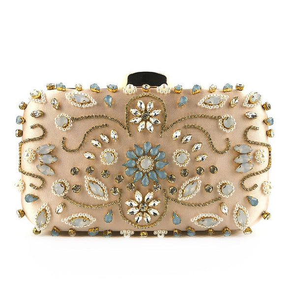 Lovely Evening Clutch Bag with Beading, Sequins and Rhinestones - Pink