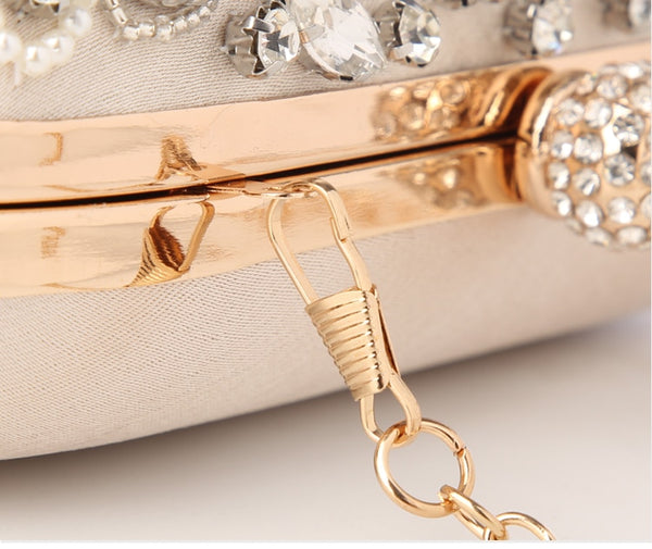 Lovely Evening Clutch Bag with Beading, Sequins and Rhinestones - Apricot - Rhinestone Closure - Zoom in Strap