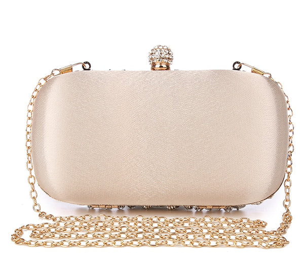 Lovely Evening Clutch Bag with Beading, Sequins and Rhinestones - Apricot - Rhinestone Closure - Back
