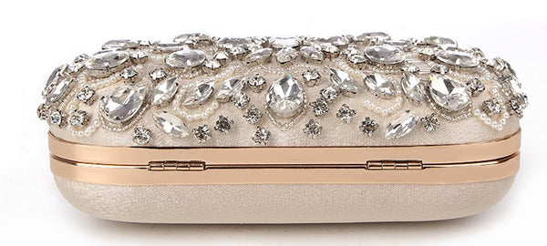 Lovely Evening Clutch Bag with Beading, Sequins and Rhinestones - Apricot - Rhinestone Closure - Flat - Back