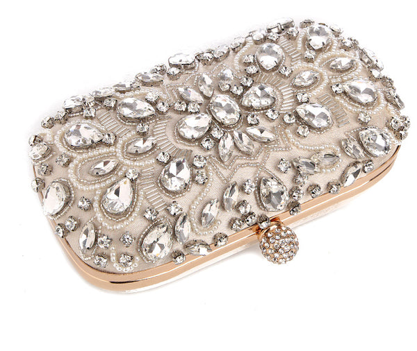 Lovely Evening Clutch Bag with Beading, Sequins and Rhinestones - Apricot - Rhinestone Closure - Flat Front