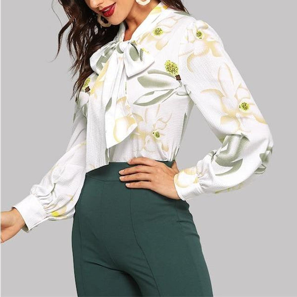 Elegant Long Sleeve White Blouse with Floral Print and Bow - Side