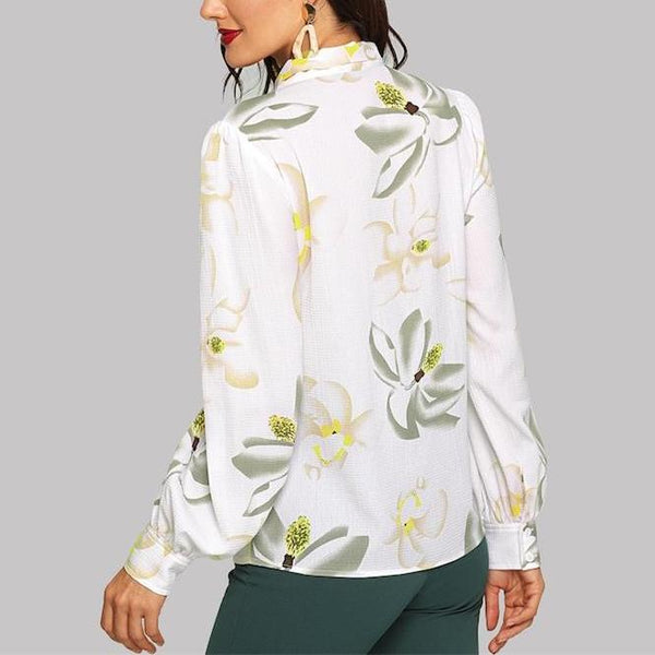 Elegant Long Sleeve White Blouse with Floral Print and Bow - Back
