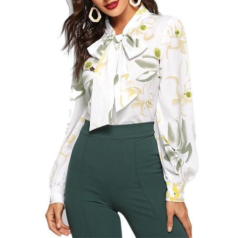 Elegant Long Sleeve White Blouse with Floral Print and Bow
