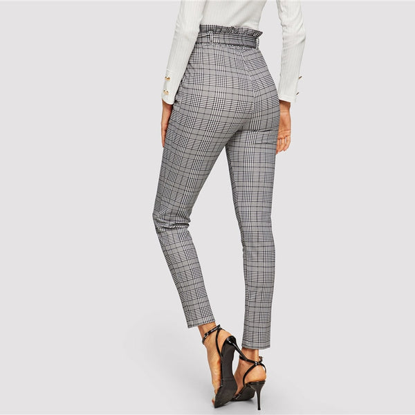 Elegant Belted Paperbag Waist Pencil Pants in Grey Plaid - back