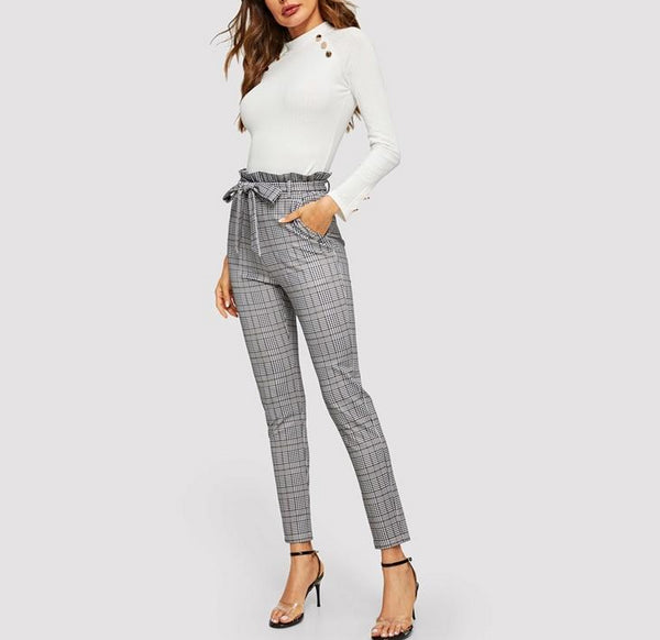 Elegant Belted Paperbag Waist Pencil Pants in Grey Plaid - Full Length