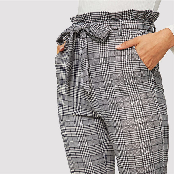 Elegant Belted Paperbag Waist Pencil Pants in Grey Plaid - zoom