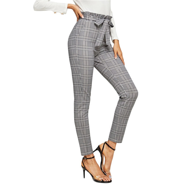 Elegant Belted Paperbag Waist Pencil Pants in Grey Plaid