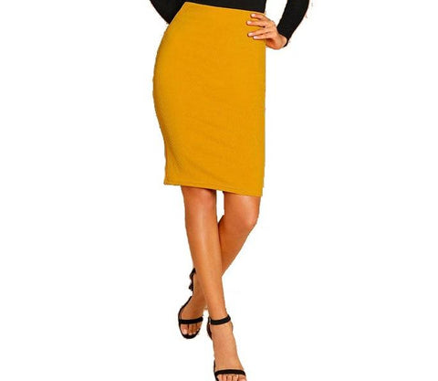 Elegant Knee-Length Pencil Skirt in Deep Yellow