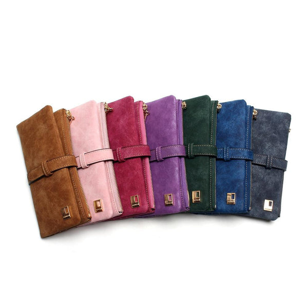Large Two Fold Faux Nubuck Leather Wallet Clutch - Multiple Colours