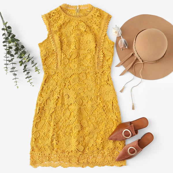 Elegant Sleeveless Shift Dress in Ginger with Contrast Lace - Overview