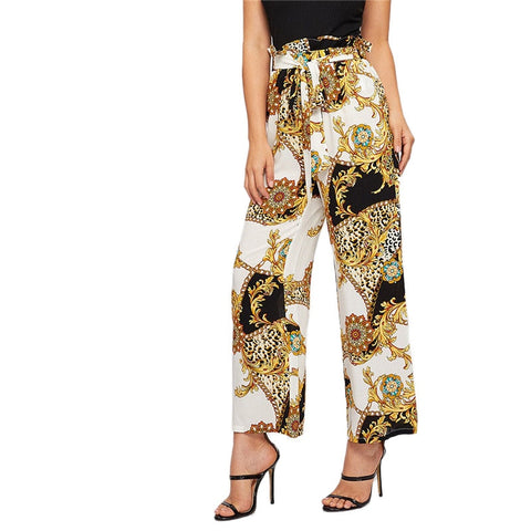 Elegant Belted Paperbag High Waist Wide Leg Pants with Artistic Scarf Print